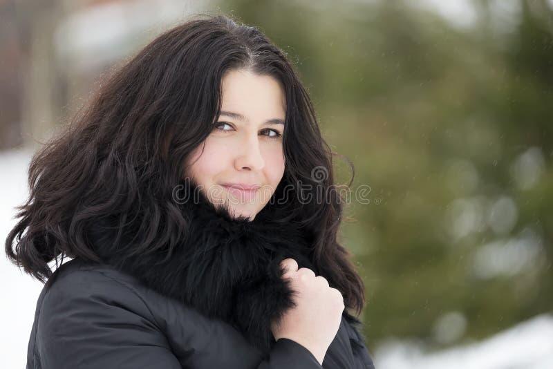 Retrato del invierno de la redecilla morena hermosa joven de la mujer cubierta en nieve Concepto de la moda de la belleza del inv imagenes de archivo
