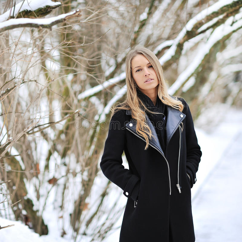 Retrato del invierno de un blonde hermoso fotos de archivo