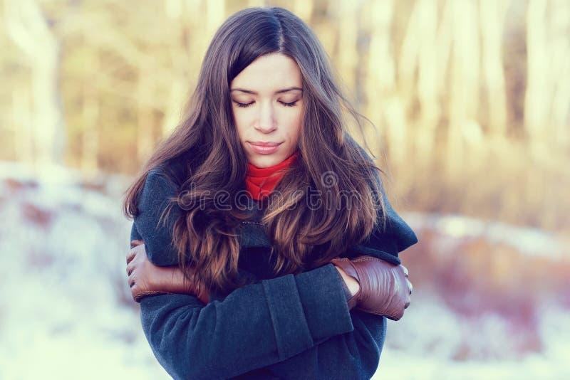 Retrato del invierno de una mujer imagenes de archivo
