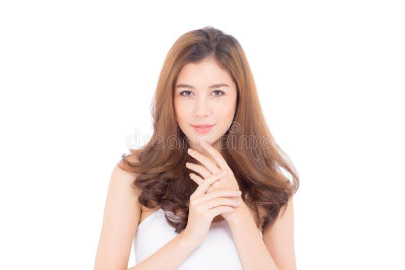 Retrato del maquillaje asiático de la mujer hermosa del cosmético, de la barbilla del tacto de la mano de la muchacha y de la son imagen de archivo libre de regalías