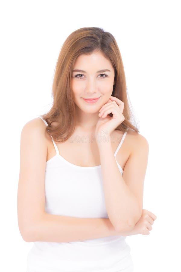 Retrato del maquillaje asiático de la mujer hermosa del cosmético, mano de la muchacha imagen de archivo libre de regalías