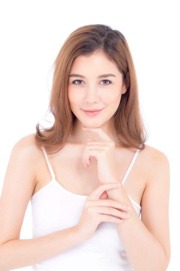 Retrato del maquillaje asiático de la mujer hermosa del cosmético, mano de la muchacha fotografía de archivo