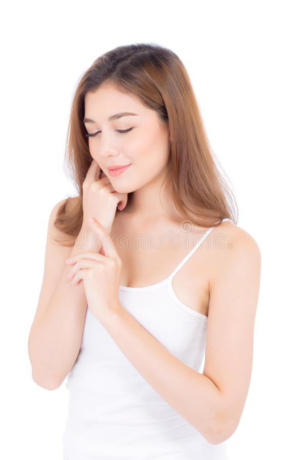 Retrato del maquillaje asiático de la mujer hermosa del cosmético, mano de la muchacha imagenes de archivo