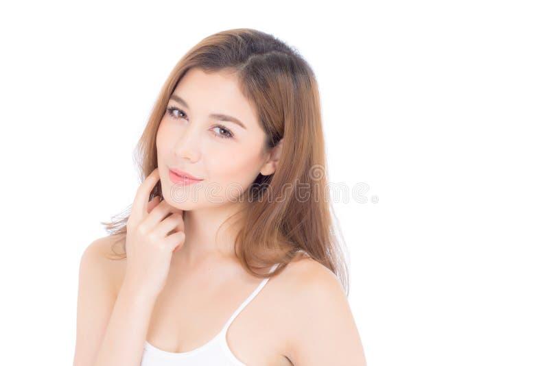 Retrato del maquillaje asiático de la mujer hermosa del cosmético, de la mejilla del tacto de la mano de la muchacha y de la sonr foto de archivo