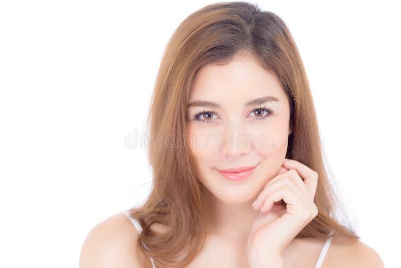 Retrato del maquillaje asi?tico de la mujer hermosa del cosm?tico, de la mejilla del tacto de la mano de la muchacha y de la sonr foto de archivo
