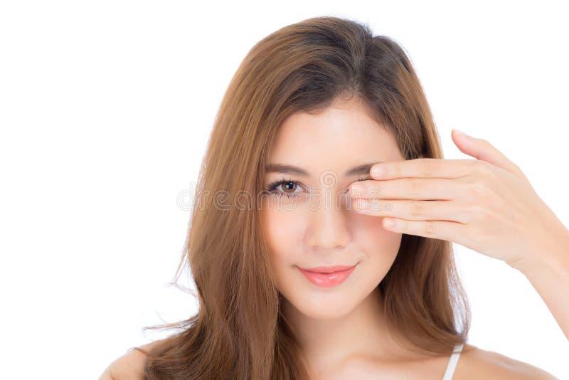 Retrato del maquillaje hermoso del cosmético, cierre de la mujer de la mano de la muchacha fotografía de archivo libre de regalías