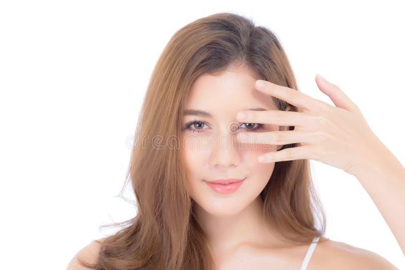 Retrato del maquillaje hermoso de la mujer del cosmético, del ojo de la mano de la muchacha y de la sonrisa atractivos imagen de archivo libre de regalías