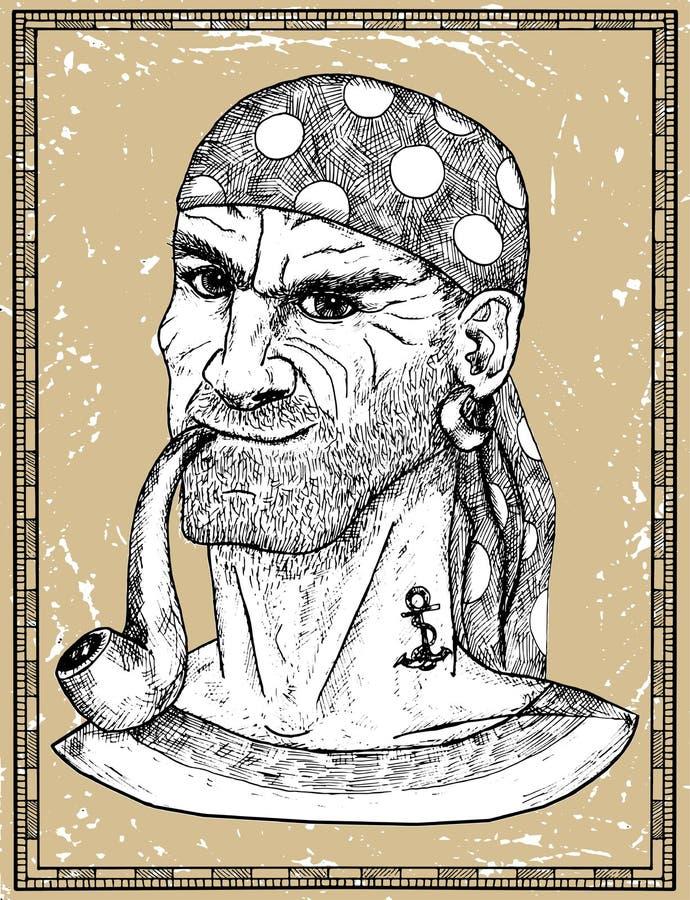 Retrato del marinero, del capitán del pirata o del tubo que fuma del contramaestre en fondo de la textura libre illustration