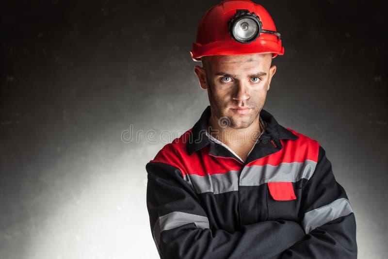 Retrato del minero de carbón serio imagen de archivo