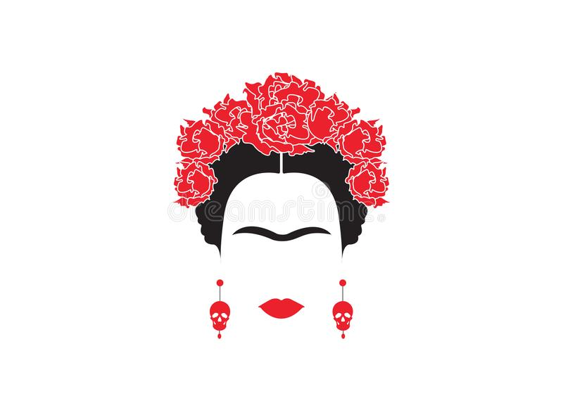 Retrato del minimalist mexicano o español Frida Kahlo de la mujer con los cráneos de los pendientes y las flores rojas, aislado stock de ilustración