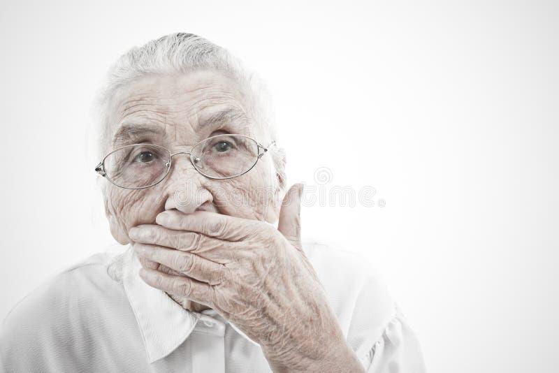 La abuela es muda imagen de archivo libre de regalías