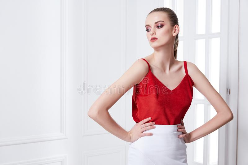 Retrato del modelo de moda atractivo atractivo del encanto de la mujer joven po foto de archivo