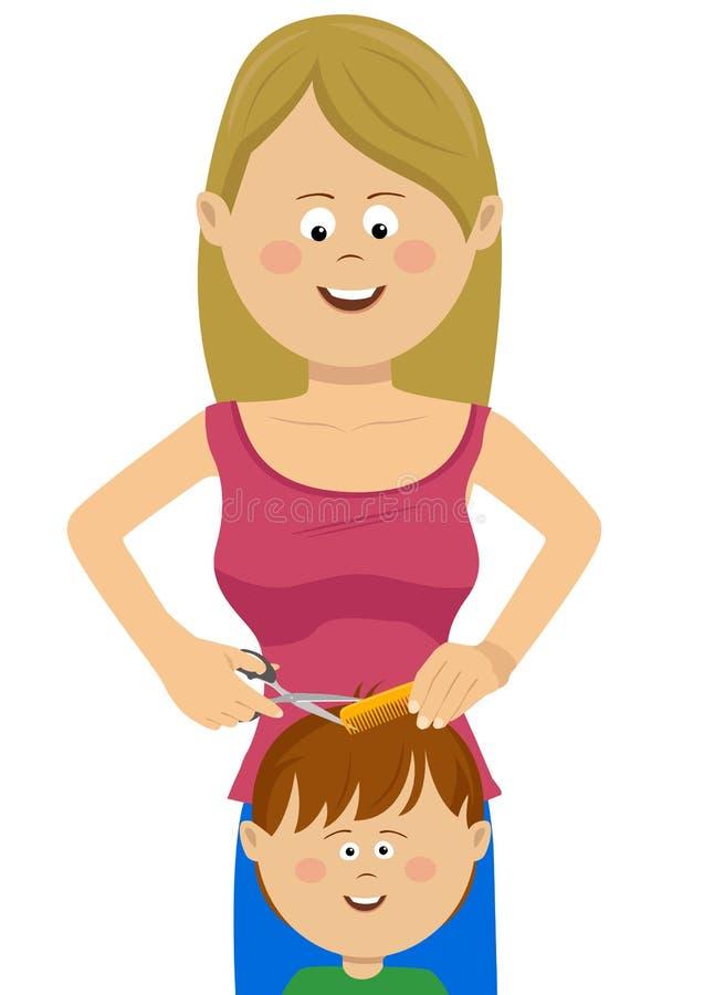 Retrato del muchacho feliz del peluquero del pelo joven del corte en la barbería, del peluquero y del niño ilustración del vector