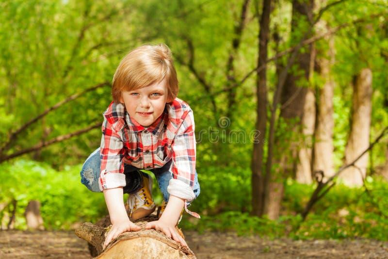 Retrato del muchacho joven rubio que se coloca en un registro fotos de archivo libres de regalías
