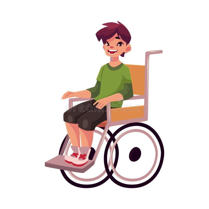 Retrato del niño feliz de la escuela que se sienta en silla de ruedas libre illustration