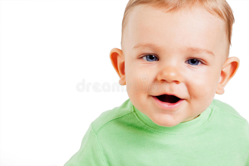 Retrato del niño lindo divertido aislado en blanco imágenes de archivo libres de regalías