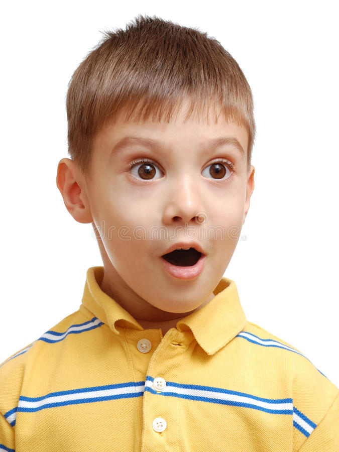 Retrato del niño sorprendido imagen de archivo