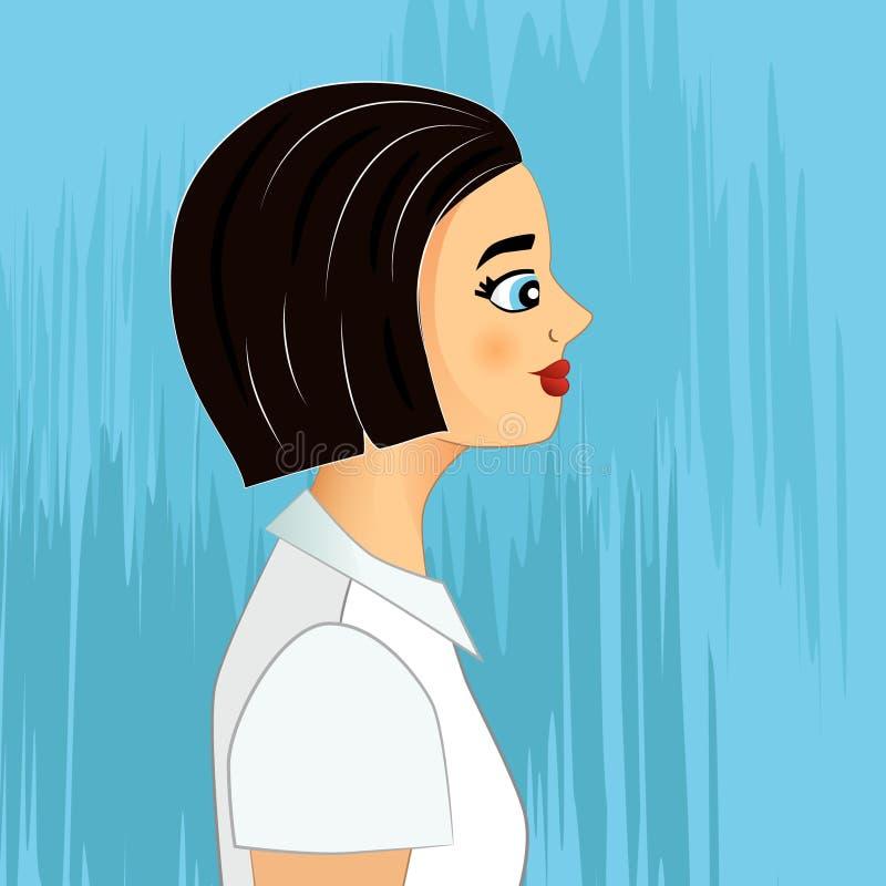 Retrato del oficinista Muchacha cabelluda negra en la blusa blanca ilustración del vector