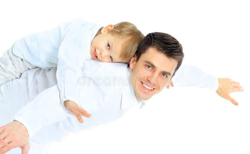 Retrato del padre y del hijo felices. foto de archivo libre de regalías