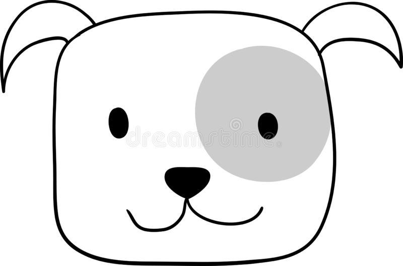 Retrato del pequeño dogo inglés lindo Amigo del perro Aislado en el fondo blanco libre illustration