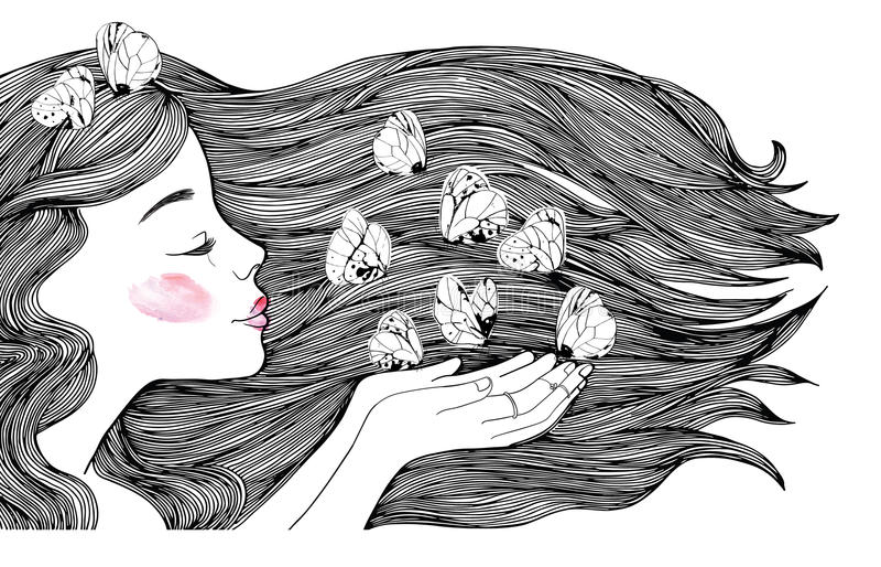 Retrato del perfil de la chica joven y mariposas blancas Ilustración blanco y negro de la manera ilustración del vector