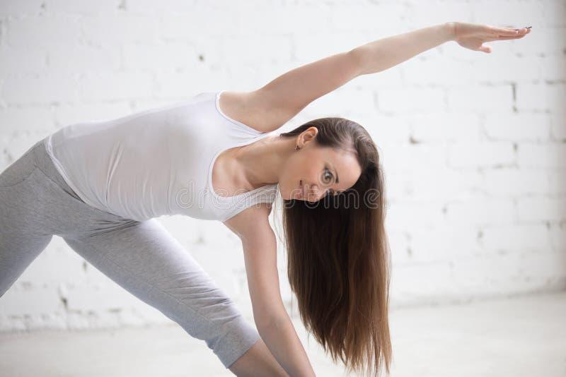 Retrato del perfil de la mujer hermosa que se coloca en actitud de la yoga fotografía de archivo