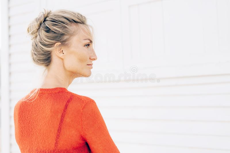 Retrato del perfil de una mujer rubia magnífica con una cara hermosa imagen de archivo libre de regalías