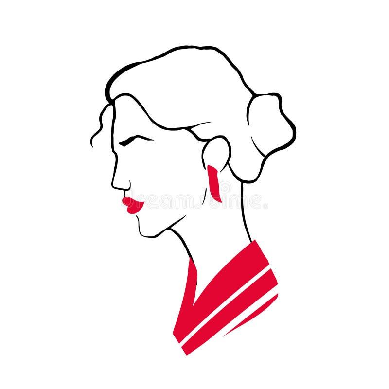 Retrato del perfil del esquema de la señora joven elegante con clase Cabeza o cara de la mujer de moda con los labios rojos, pend stock de ilustración