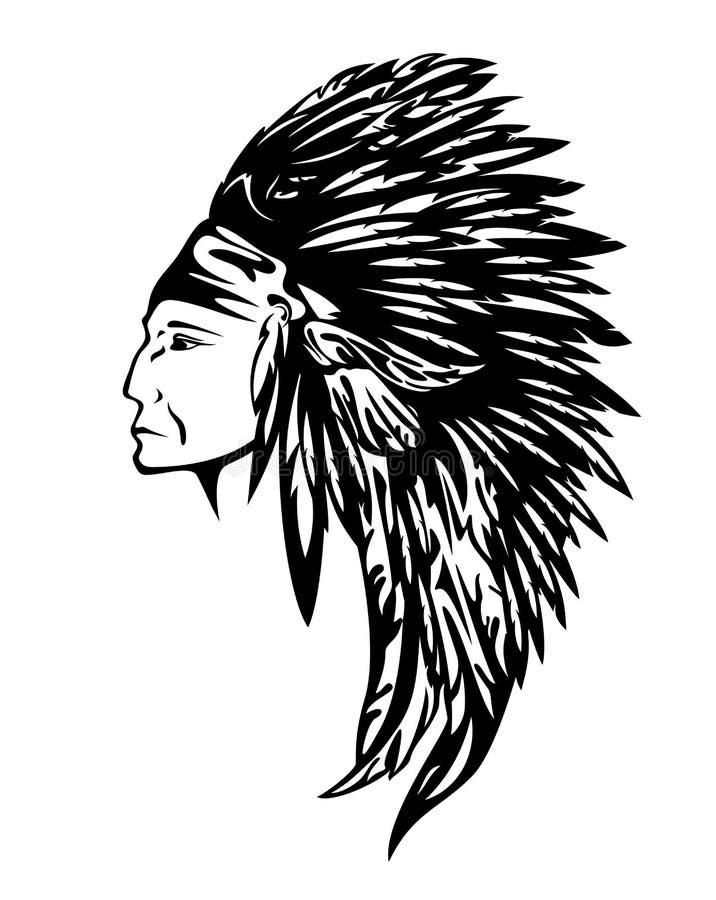 Retrato del perfil del vector del jefe indio libre illustration