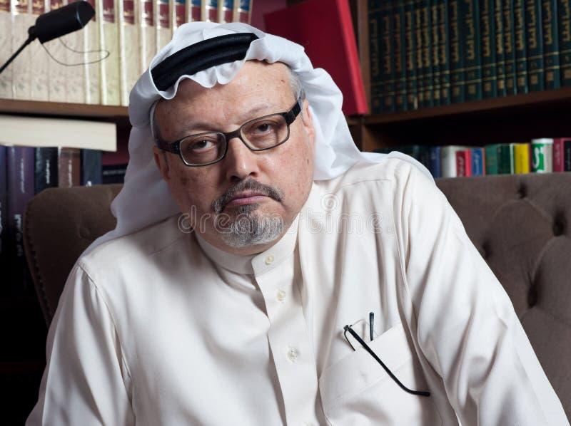 Retrato del periodista Jamal Khashoggi del saudí del ` s de Washington Post foto de archivo