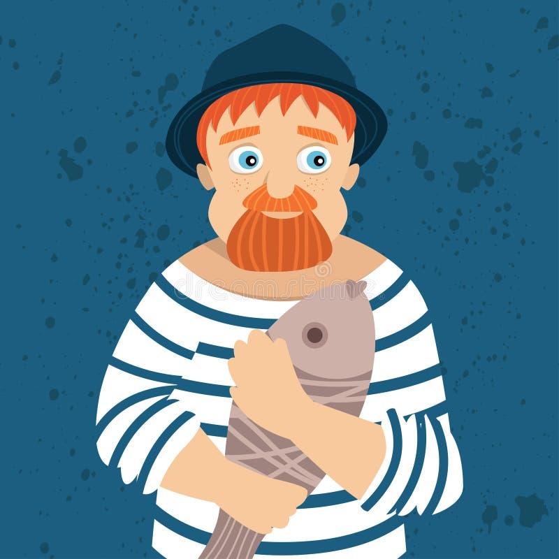 Retrato del pescador con los pescados ilustración del vector