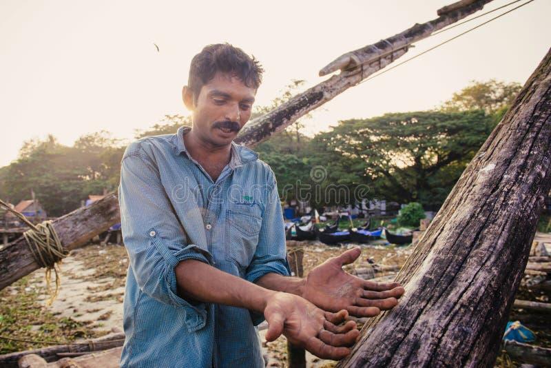 Retrato del pescador indio fotografía de archivo libre de regalías