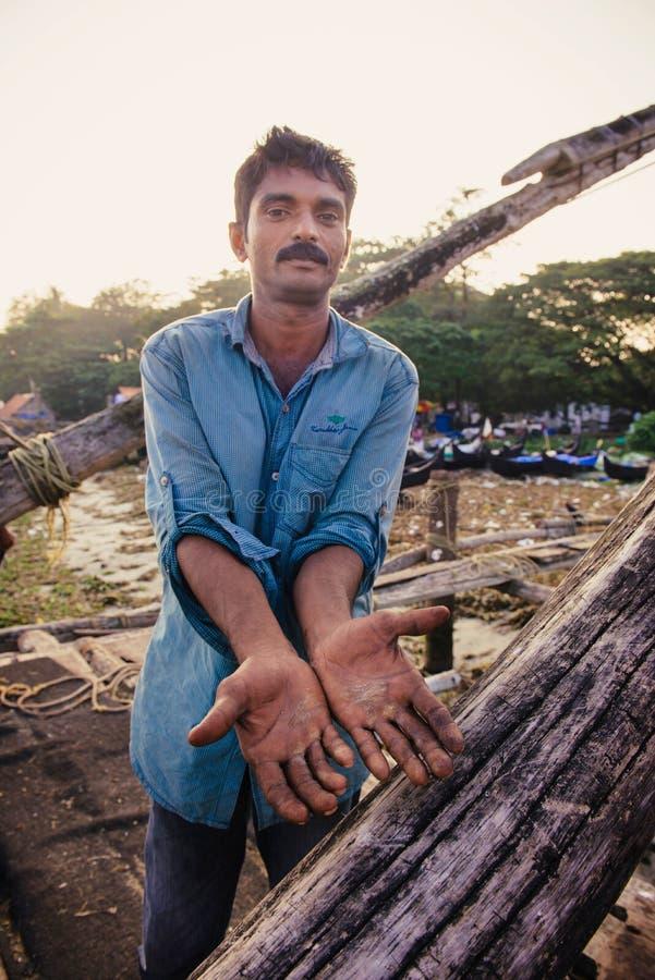 Retrato del pescador indio imágenes de archivo libres de regalías