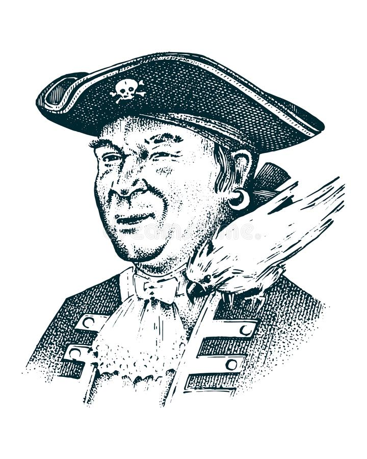 Retrato del pirata Captain al hombre en la nave que viaja a través de los océanos y de los mares Aventura marina del gancho del m ilustración del vector