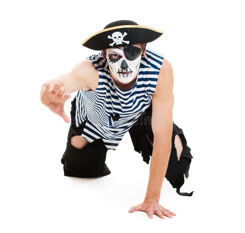 Retrato del pirata cruel imagen de archivo