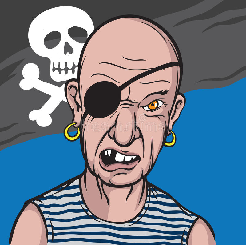 Retrato del pirata furioso stock de ilustración