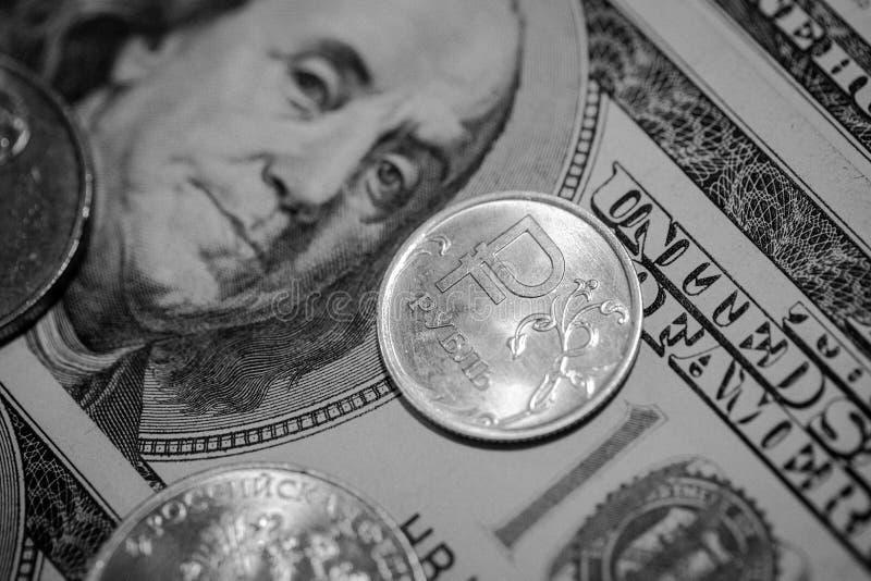 Retrato del presidente Tipos de cambio El ratio de la rublo al dólar fotos de archivo libres de regalías
