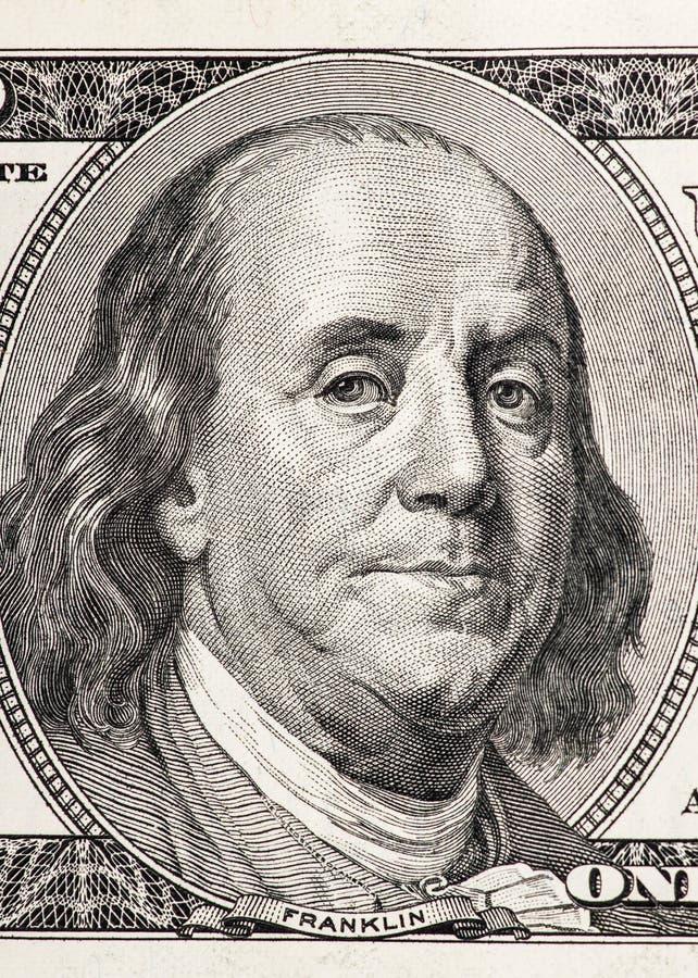 Retrato del primer de Benjamin Franklin imagen de archivo libre de regalías