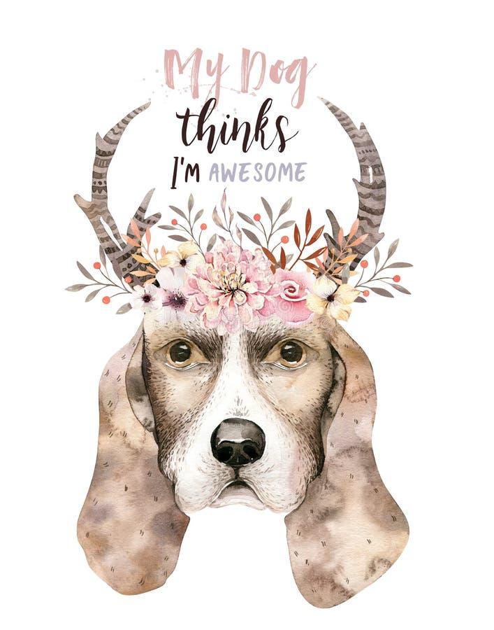 Retrato del primer de la acuarela del perro lindo Aislado en el fondo blanco Animal doméstico casero dulce dibujado mano Animal d stock de ilustración