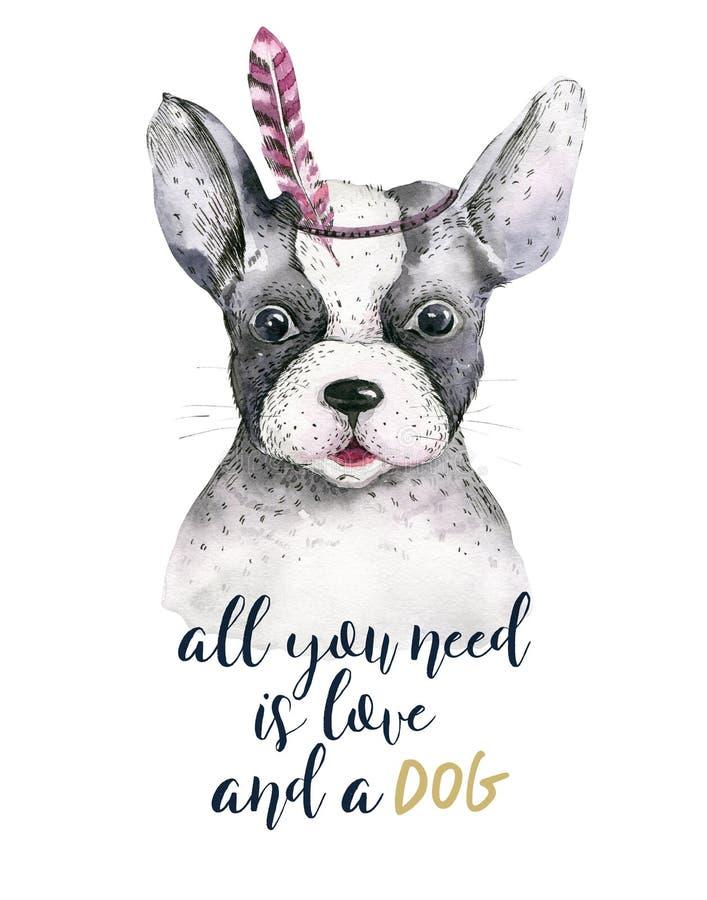 Retrato del primer de la acuarela del perro lindo Aislado en el fondo blanco Animal doméstico casero dulce dibujado mano Animal d ilustración del vector