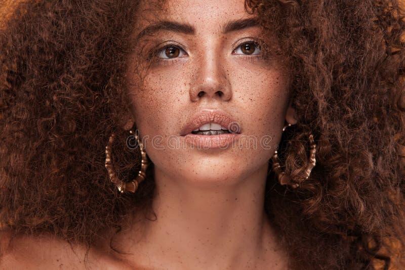 Retrato del primer de la muchacha con el peinado afro Tiro del estudio foto de archivo