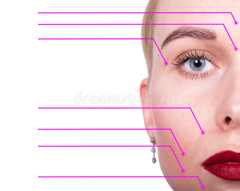 Retrato del primer de la mujer joven, fresca y natural con las flechas punteadas en su cara que señala en áreas de una cara Spa imágenes de archivo libres de regalías