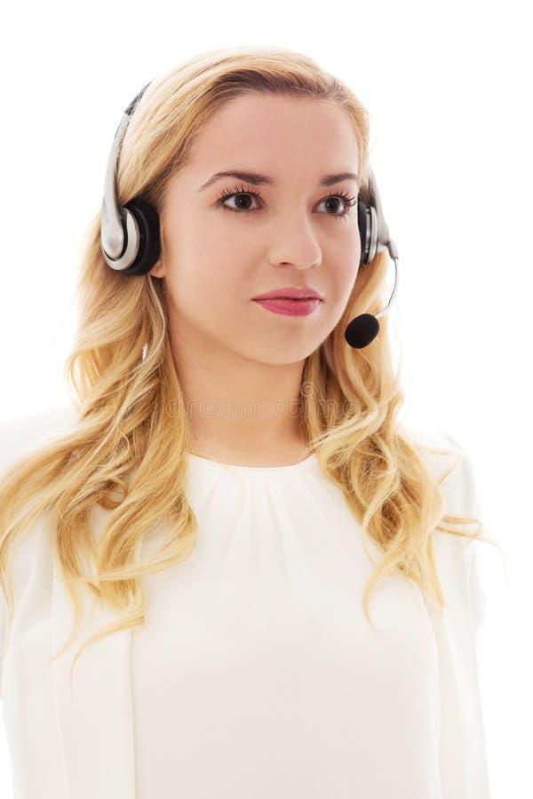 Retrato del primer de las auriculares que llevan felices del representante/delegado de servicio de atención al cliente fotos de archivo