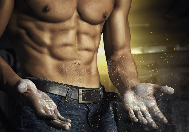 Retrato del primer de un hombre muscular atractivo Hombre atlético del culturista brutal con seis paquetes, ABS perfecto, hombros fotografía de archivo