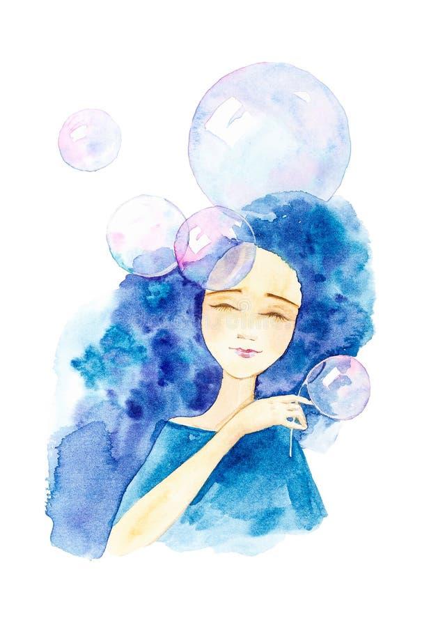 Retrato del primer de una muchacha hermosa en un vestido azul con el pelo azul y los ojos cerrados Rodeado por las burbujas de ja stock de ilustración