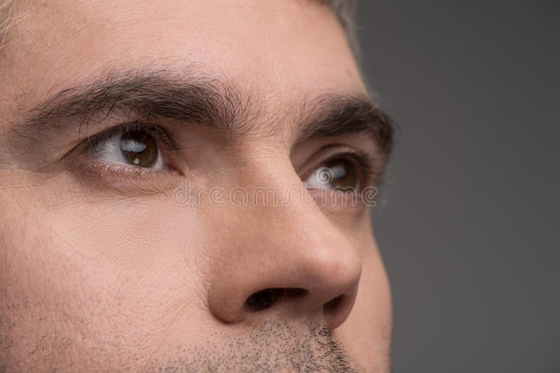 Retrato del primer del hombre en fondo gris imagenes de archivo