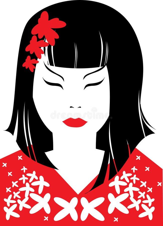 Retrato del primer del vector de la mujer japonesa stock de ilustración