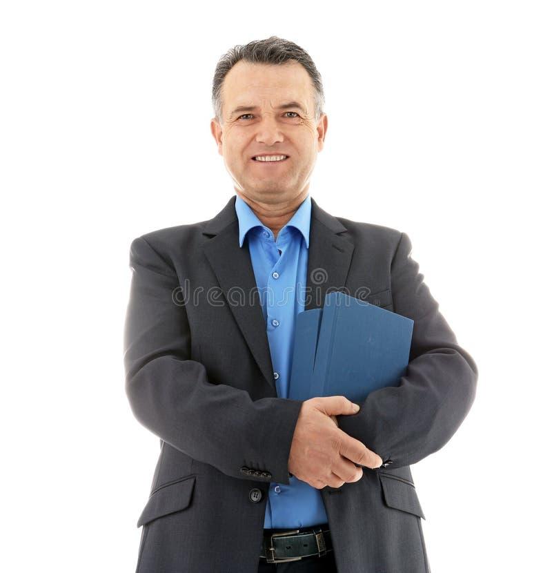 Retrato del profesor de sexo masculino con los libros imágenes de archivo libres de regalías