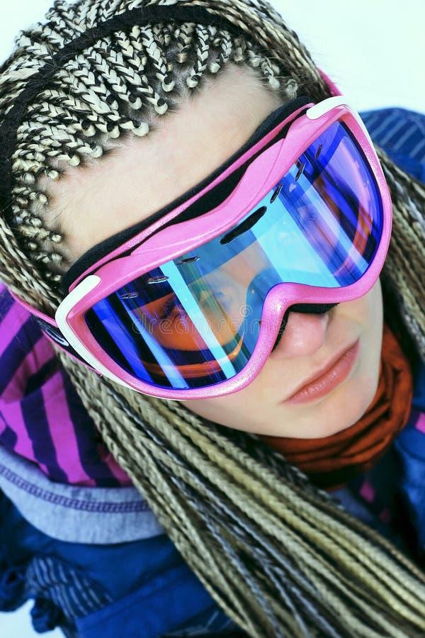Retrato del snowboarder de la mujer fotos de archivo