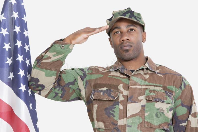 Retrato del soldado de los E.E.U.U. Marine Corps que saluda la bandera americana sobre fondo gris imagen de archivo libre de regalías